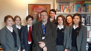 Ardingly College BBC School Report team with Film Editor Chris Eyre on News Day 2014.