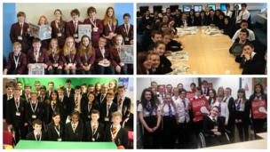 Colne Community School, Trinity High School, The Marlborough Science Academy, and Clydeview Academy pictured on News Day 2014.