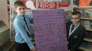 Pupils from Chailey School with their plan of stories to be covered on News Day 2014.