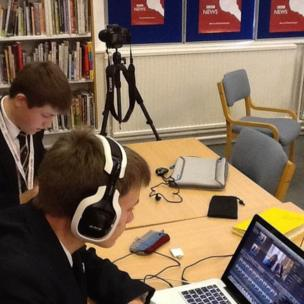 Hereford Cathedral School pupils are busy editing an interview on News Day.