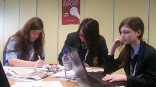 Rochester Grammar School students working hard on their stories for their first ever News Day.