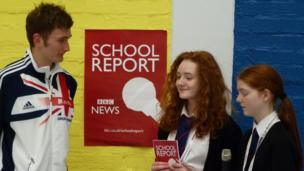 Reporters at Gryffe High School with athlete and former Gryffe pupil Derek Hawkins.