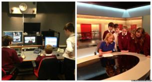 Somervale School students at BBC studios in Bristol