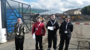 Pupils at Carlibar Primary School, Barrhead on the building site of a new Asda.