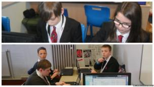 Spen Valley Sports College (above) and Littleover Community School working at their computers
