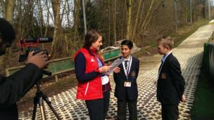 Adam and Harry from The Coopers Company and Coborn School interviewed Paralympic medallist and former student at the school, Caroline Powell.