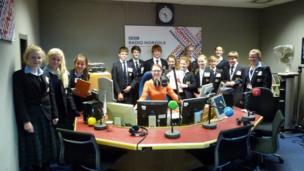 School Reporters from Gresham's School in Norfolk at BBC Radio Norfolk.