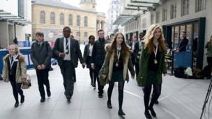 School Reporters arrive at BBC headquarters