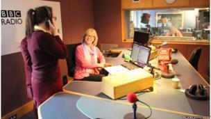 School Reporters in radio studio with presenter Wendy Austin