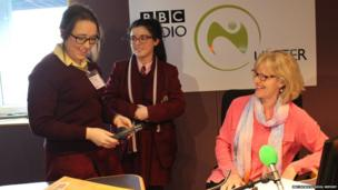School Reporters with presenter Wendy Austin