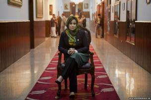 Afghan lawmaker Hamida Ahmadzai poses for a picture
