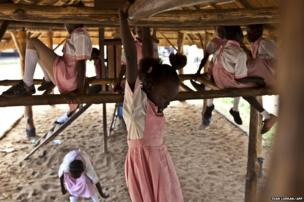 Pupils are pictured at playtime in the Ephatha Primary School in Juba