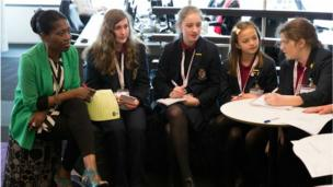 Malbank School and Sixth Form College talk to weather presenter Eno Eruto.