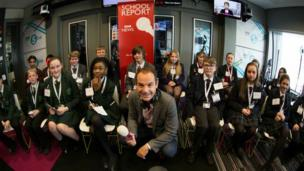 Reporters from five schools taking part in a Radio 5 Live debate.