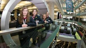 Pupils from Malbank School and Sixth Form College in the BBC building.