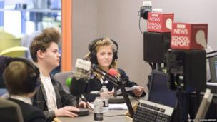 School Reporters in a radio studio