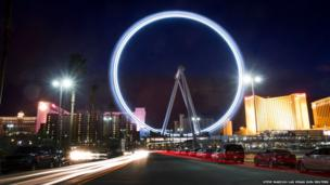 The 550ft (170m) tall High Roller observation wheel spins after opening in Las Vegas, Nevada (Long exposure photograph)