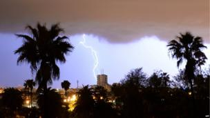 Lightning strikes over Rabat, capital of Morocco, on 2 April 2014