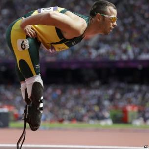 South Africa's Oscar Pistorius prepares to compete in a men's 400m race at the London Olympics in 2012