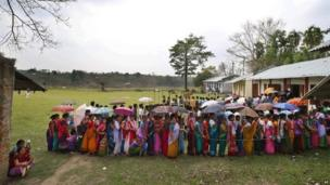 Indians queue to vote in the northeastern state of Tripura