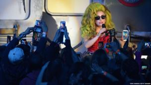 Lady Gaga performs on stage at Roseland Ballroom in New York City