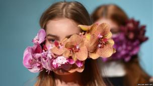 A model parades an outfit by Australian designer Toni Maticevski at Fashion Week Australia, in Sydney