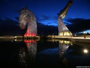Falkirk's 30 metre-high horse head sculptures
