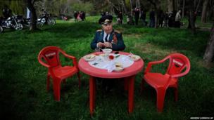 A World War Two veteran relaxes in Simferopol, Crimea