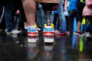 The shoes of 2013 Boston Marathon bombing survivor JP Norden