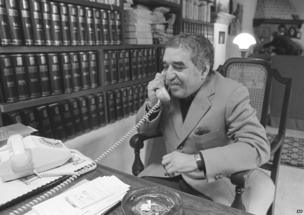 Author Gabriel Garcia Marquez, winner of the Nobel Prize for literature, talks on the phone at his home, Oct. 21, 1982.