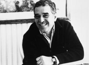 """Gabriel Garcia Marquez celebrates the 20th anniversary of his novel """"100 Years of Solitude,"""" his greatest work and a symbol of Latin American literature in Bogota, Colombia, June, 1987."""