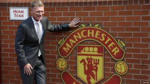 David Moyes poses by United sign on 5 July 2013
