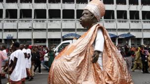 Model of Bola Tinubu at the Lagos carnival, Lagos, Nigeria - Monday 21 April 2014