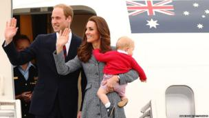 Duke And Duchess Of Cambridge and their son Prince George leave Fairbairne Airbase in Australia as they head back to the UK