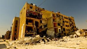 Damaged building in Aleppo