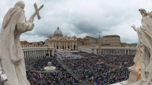 General view of St Peter's Square during the canonisation ceremony of Popes John XXIII and John Paul II at the Vatican April 27