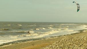A kite surfer at Llanrhystud, Ceredigion