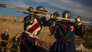Knights fight at the Medieval Combat World Championship