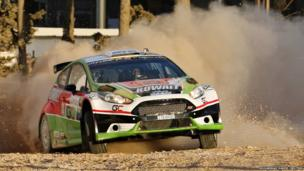 Salah Bin Eidan of Kuwait and co-driver Alex Gelsomino of the US drive their Ford Fiesta R5