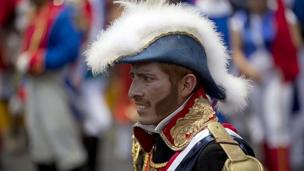 A man plays a French army officer at Cinco de Mayo celebrations on 5 May 2014