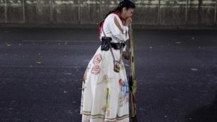 Woman dressed as a revolutionary Zacapoaztla Indian
