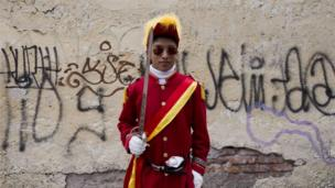 """A man taking part in the commemoration of a new anniversary of Mexico""""s victory over France in the Battle of Puebla in 1862, poses for pictures at Penon de los Banos neighbourhood in Mexico City, on May 5, 20"""