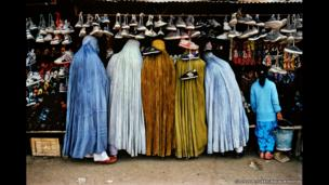 Afghan women at shoe store, 1992