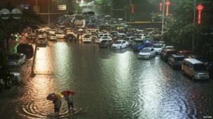 Flooded street in Shenzhen, Guangdong province