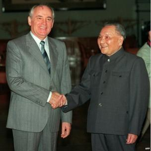General Secretary of the Soviet Communist Party, Mikhail Gorbachev (left), shakes hands with Chinese senior leader Deng Xiaoping on 16 May 1989