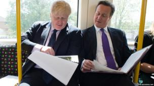 The Mayor of London Boris Johnson (left) and British Prime Minister David Cameron are seen on an underground train