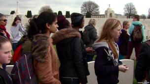 School Reporters Brithany and Charlotte amongst other students in Tyne Cot cemetery