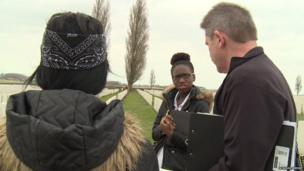 School Reporters Brithany and Charlotte with battlefields tour guide