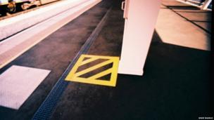 Yellow square at Gatwick Station