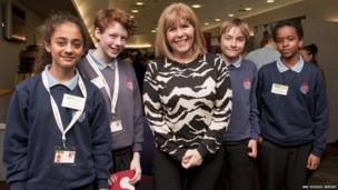 Fatemah,Cerys, Ieuan and Abdirahim get the chance to chat to TeenTech's founder, Maggie Philbin